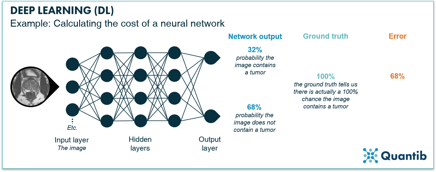 schematic figure illustrating deep learning in radiology explaining how to calculate the cost of a neural network
