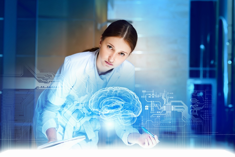 Image of young woman doctor. Concept of modern technology-2
